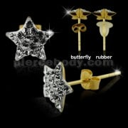 9K Gold Multi Jeweled Star Ear Stud