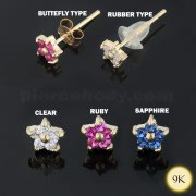 9K Gold Flower Crystal Jeweled Ear Stud