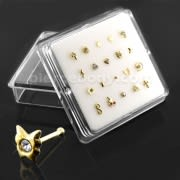 20 pieces Assorted 9K Gold Ball End Nose Studs