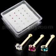 Clear,Fushia and Blue Zircon 9K Gold Ball End Nose Pins in Mini Box