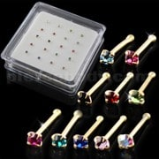 10 Mix Colors of 9K Gold Ball End Nose Pins in Mini Box