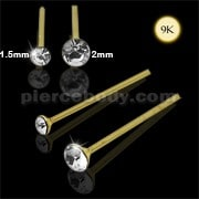 9K Gold Straight End Jeweled Nose Pin