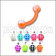 Orange UV Eyebrow Banana Ring With Multi Color UV Balls