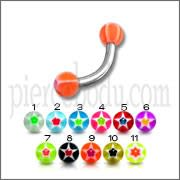 SS Eyebrow Banana with Mix Color UV Star Print Balls Body Jewelry