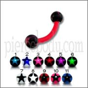 Red UV Eyebrow Banana Bar with Black Star Printed UV Balls