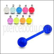 Tongue Barbells With UV Llight Reactive Acrylic Balls Body Jewelry