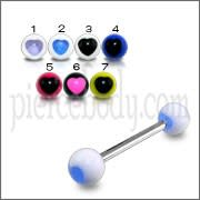 SS Tongue Barbell with White UV Blue Heart Print Balls