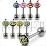 Jeweled Tongue Barbell With 316L Surgical Steel