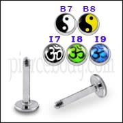 SS Labret with 4mm Aum Logo Ball
