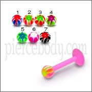 UV Labret With UV Multi Color Star Fancy Balls