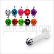 UV Labret With Beach Ball UV Acrylic Tongue Rings