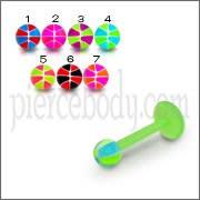 Football Color UV Tongue Balls With UV Labret Acrylic