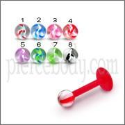 UV Labret With UV Acrylic Flower Printed Fancy Balls