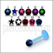 UV Labret With UV Fancy Star Printed Body Jewelry Balls