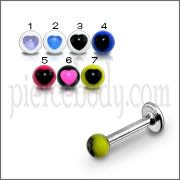 SS Labret Lip Or Eyebrow Ring With Mix Color UV Heart Fancy Balls