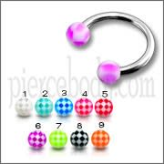 316L Surgical Steel Circular Barbell with 3MM UV Marble Ball Piercing jewelry