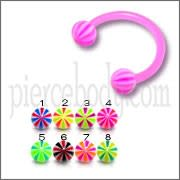 Acrylic UV Ball Circular Barbell Ring Body Jewelry