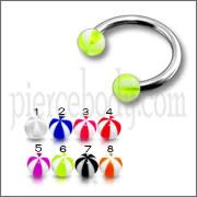 SS Circular Barbells Horseshoe Ring with Peach Green UV Balls
