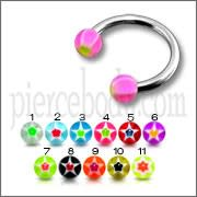 SS Circular Barbells Horseshoe Ring with Pink UV Star Print Balls