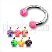 SS Circular Barbells with 3mm Multi Color Print UV Balls
