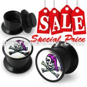 Screw Fit Ear Flesh Tunnel with Pirates Skull Logo