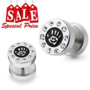 Smiley Logo Hand Jeweled Fake Ear Plug