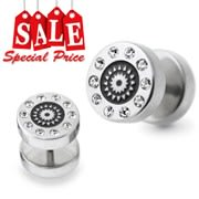 Multi Surgical Steel CZ Fake Ear Plug Stud