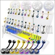 Mix Anodized Single and Double Jeweled Belly Rings in a Display