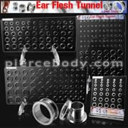 Screw Fit Ear Flesh Tunnels with Display