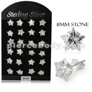 8MM CZ Star Ear Stud in 12 pair Tray