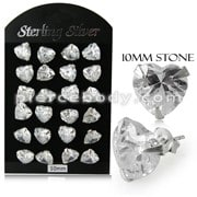 10MM CZ Heart Ear Stud in 12 pair Tray
