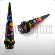 Colorful Flowers Straight Ear Expander