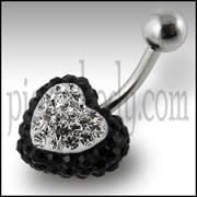 Crystal stone Heart With 316L SS Belly Ring FDBLY321