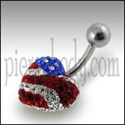 USA Flag Crystal stone Heart Navel banana Bar Ring