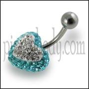 Crystal stone Heart SS Banana Bar Navel Ring FDBLY324