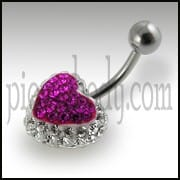 Mix Color Crystal stone Heart Belly Ring FDBLY325