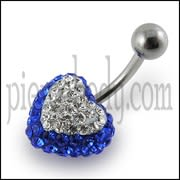 Crystal stone Heart Belly Button Ring SS Curved Barbell