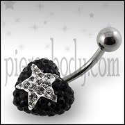 Black Crystal stone With White Heart SS Banana Bar Ring