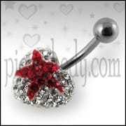 Crystal stone With Red Heart With Surgical Steel Banana Bar Navel Ring