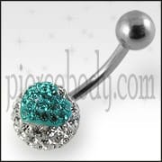 White And Light Green Crystal stone Belly Ring Body Jewelry FDBLY383