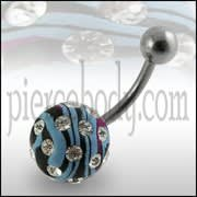 Multi Color Painted Crystal Ball Belly Ring Body Jewelry