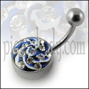 Multi Color painted Crystal Navel Ring Body jewelry with Steel Base