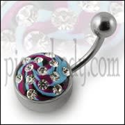 316 Surgical Steel Multi Color painted Crystal Curved Bar Navel Ring with Steel Base