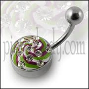 Multi Color painted Crystal Cuved Bar Navel Ring with Steel Base