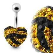 Tiger Strips Crystal Stone Heart Navel Ring With SS Banana Bar