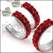 925 Sterling Silver Red Crystal Ear Stud Earring