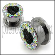 SS Screw Fit Crystal Heart Ear Flesh Tunnel