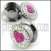 SS Screw Fit Pink Crystal Heart Ear Flesh Tunnel
