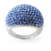 Austrian Blue Crystal Stone Brass Finger Ring