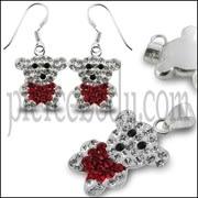Red Crystal stone Teddy Bear SET Jewelry
